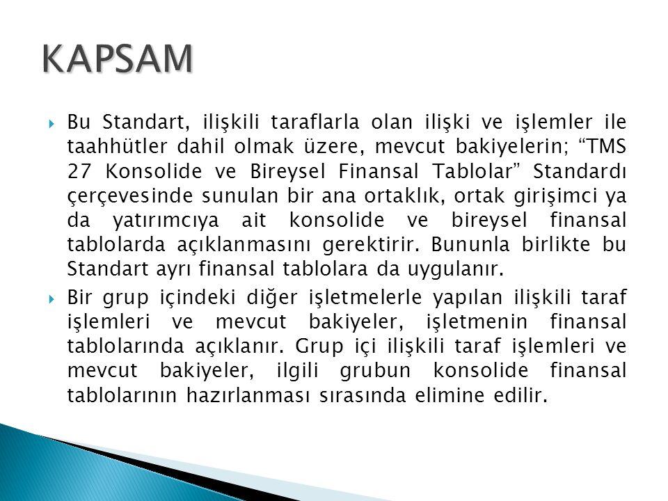 """ Bu Standart, ilişkili taraflarla olan ilişki ve işlemler ile taahhütler dahil olmak üzere, mevcut bakiyelerin; """"TMS 27 Konsolide ve Bireysel Finansa"""