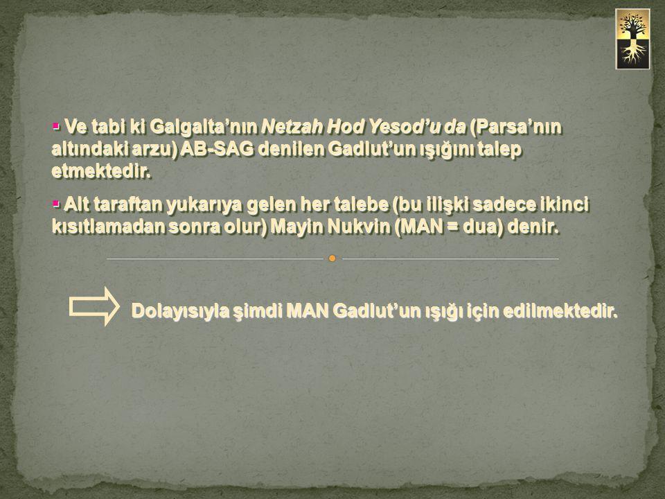  Ve tabi ki Galgalta'nın Netzah Hod Yesod'u da (Parsa'nın altındaki arzu) AB-SAG denilen Gadlut'un ışığını talep etmektedir.  Alt taraftan yukarıya