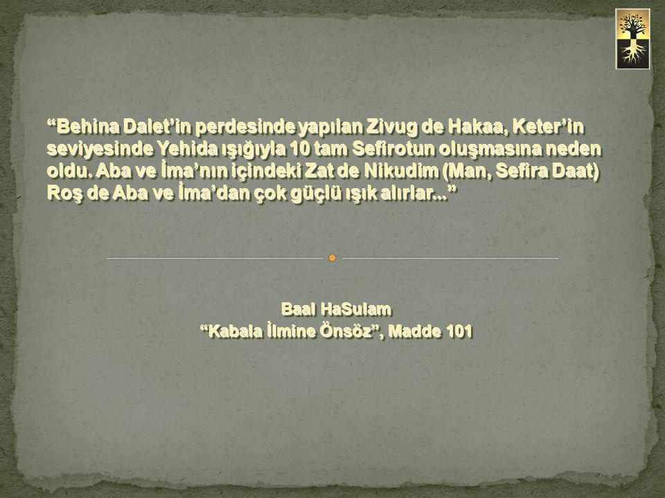 """""""Behina Dalet'in perdesinde yapılan Zivug de Hakaa, Keter'in seviyesinde Yehida ışığıyla 10 tam Sefirotun oluşmasına neden oldu. Aba ve İma'nın içinde"""