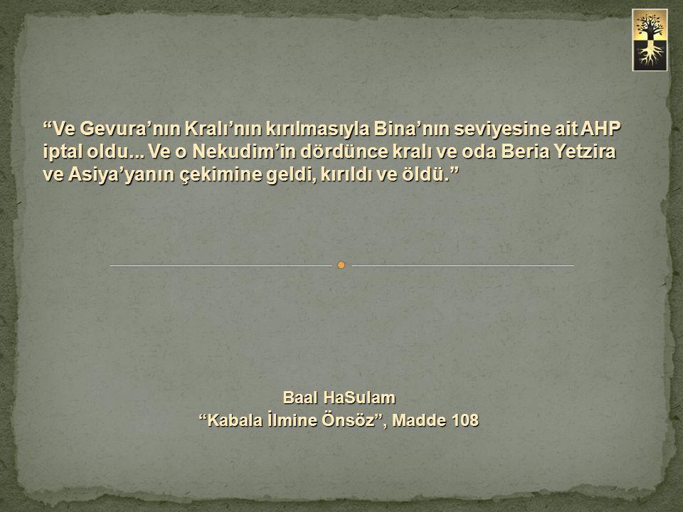 """""""Ve Gevura'nın Kralı'nın kırılmasıyla Bina'nın seviyesine ait AHP iptal oldu... Ve o Nekudim'in dördünce kralı ve oda Beria Yetzira ve Asiya'yanın çek"""