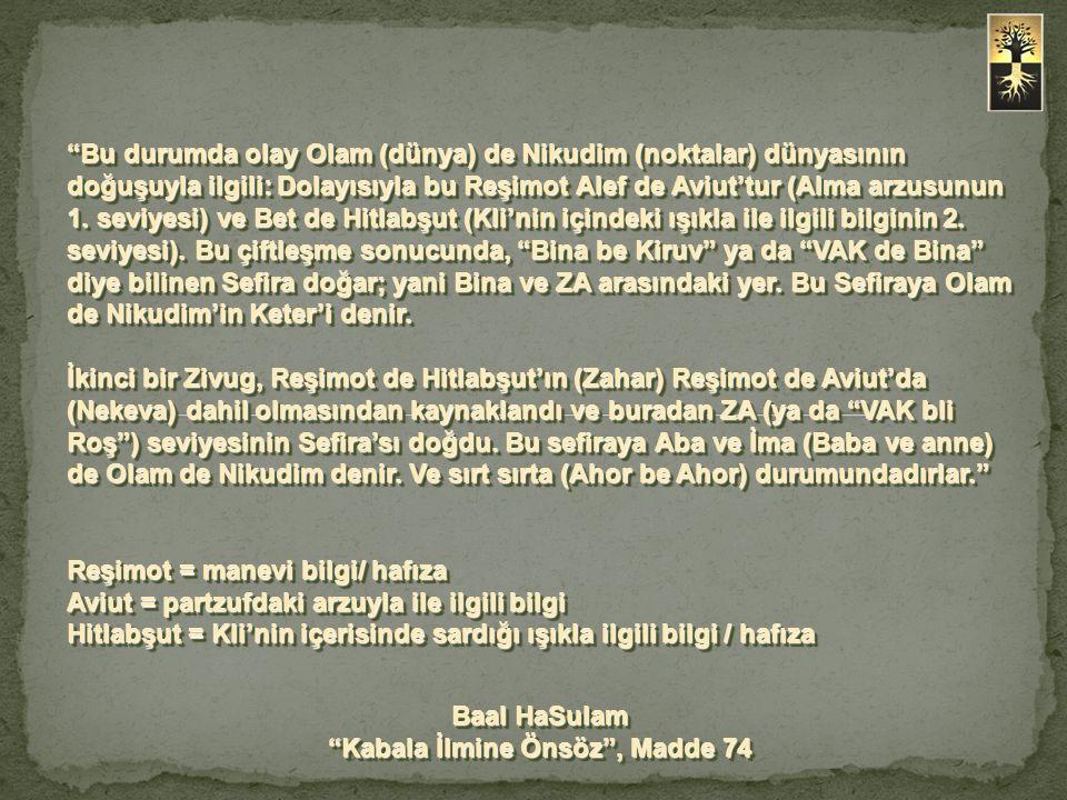 Olam de Nikudim'de, alt alta olan üç seviyeden bahsediyoruz: a) VAK de Bina seviyesindeki Keter de Nikudim; b) İki Baş olan – ZA seviyesindeki Aba ve İma; c) Zat ya da HaGaT NHYM – Guf de Nikudim.