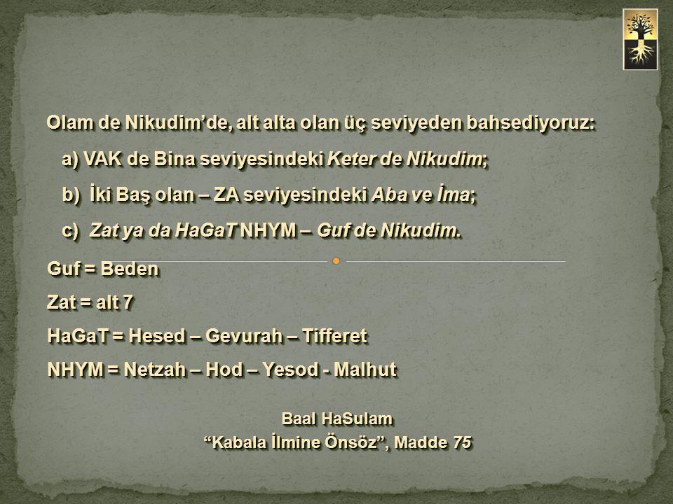 Olam de Nikudim'de, alt alta olan üç seviyeden bahsediyoruz: a) VAK de Bina seviyesindeki Keter de Nikudim; b) İki Baş olan – ZA seviyesindeki Aba ve