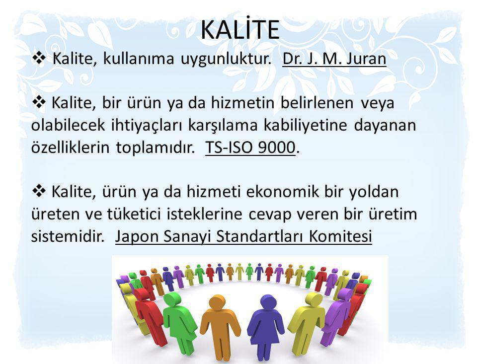 . KALİTE  Kalite, kullanıma uygunluktur. Dr. J. M. Juran  Kalite, bir ürün ya da hizmetin belirlenen veya olabilecek ihtiyaçları karşılama kabiliyet
