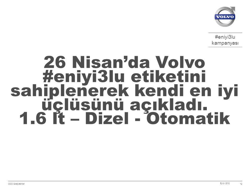 #eniyi3lu kampanyası Eylül 2012 ODD Gladyatörleri 12 26 Nisan'da Volvo #eniyi3lu etiketini sahiplenerek kendi en iyi üçlüsünü açıkladı.
