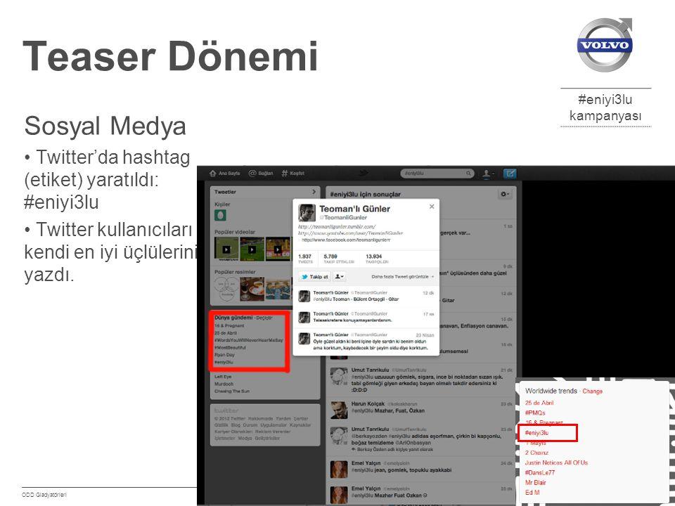 #eniyi3lu kampanyası Eylül 2012 ODD Gladyatörleri 6 Teaser Dönemi Sosyal Medya Twitter'da hashtag (etiket) yaratıldı: #eniyi3lu Twitter kullanıcıları kendi en iyi üçlülerini yazdı.