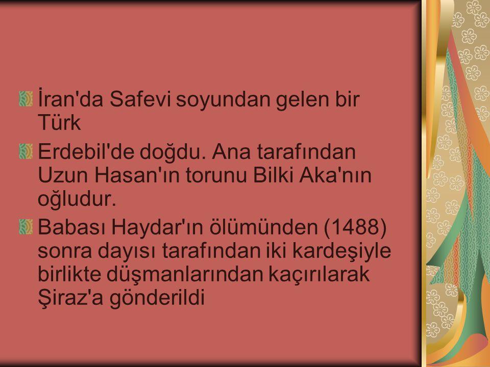 İran'da Safevi soyundan gelen bir Türk Erdebil'de doğdu. Ana tarafından Uzun Hasan'ın torunu Bilki Aka'nın oğludur. Babası Haydar'ın ölümünden (1488)