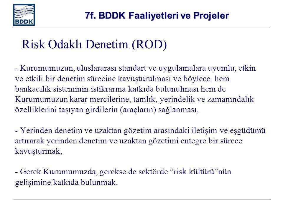 7f. BDDK Faaliyetleri ve Projeler - Kurumumuzun, uluslararası standart ve uygulamalara uyumlu, etkin ve etkili bir denetim sürecine kavuşturulması ve