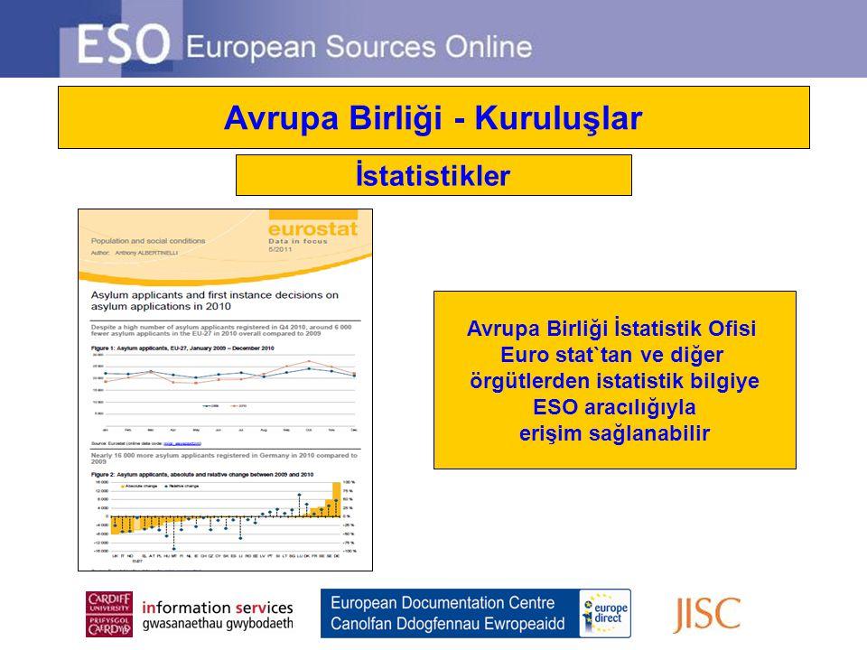 Avrupa Birliği - Kuruluşlar İstatistikler Avrupa Birliği İstatistik Ofisi Euro stat`tan ve diğer örgütlerden istatistik bilgiye ESO aracılığıyla erişi