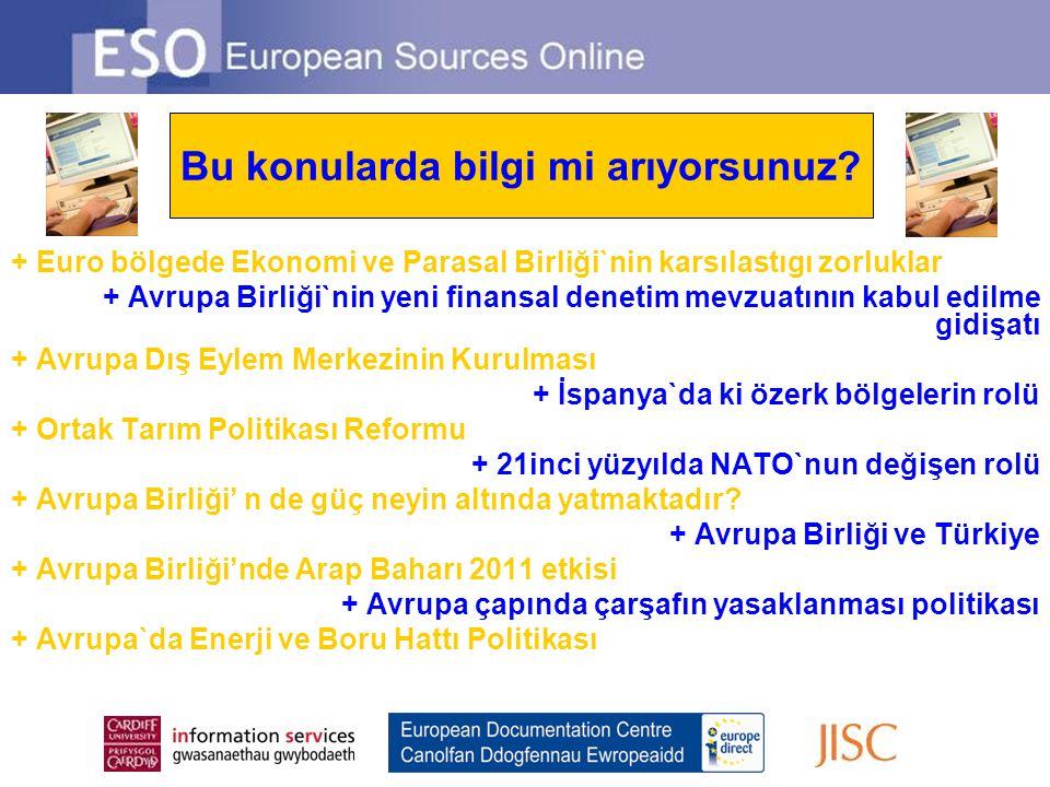 Looking for information on … + Euro bölgede Ekonomi ve Parasal Birliği`nin karsılastıgı zorluklar + Avrupa Birliği`nin yeni finansal denetim mevzuatın