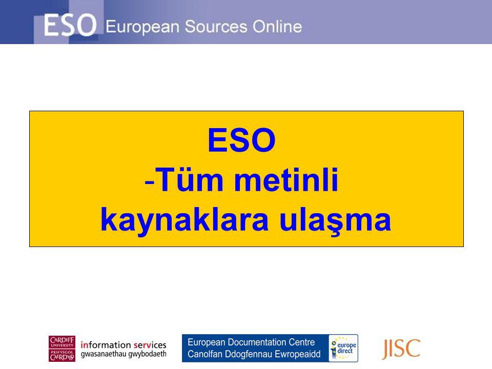 ESO -Tüm metinli kaynaklara ulaşma