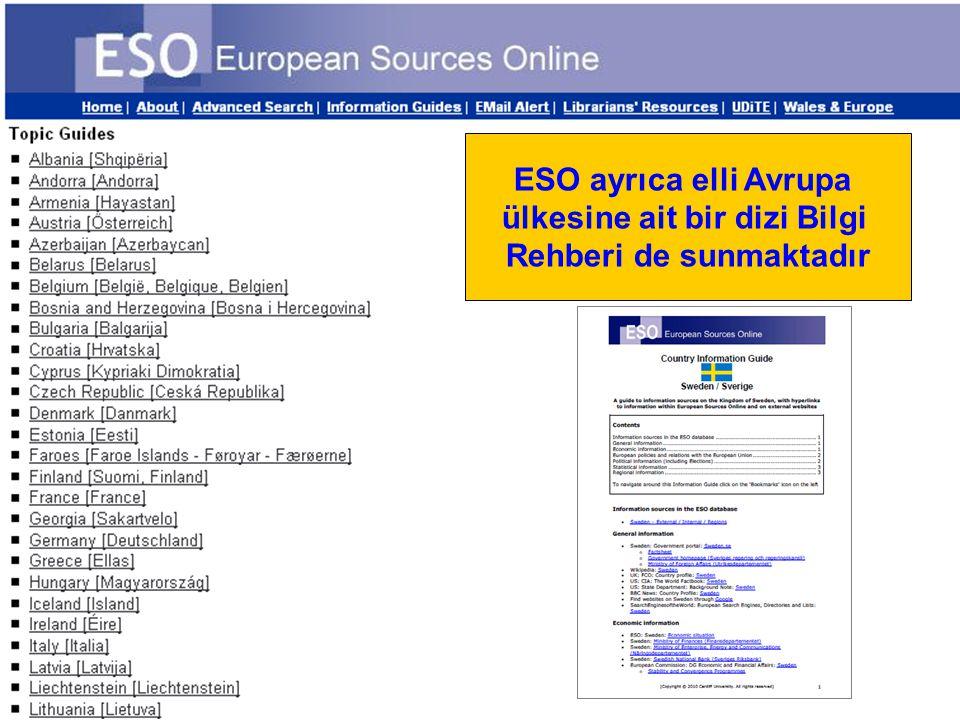 ESO ayrıca elli Avrupa ülkesine ait bir dizi Bilgi Rehberi de sunmaktadır