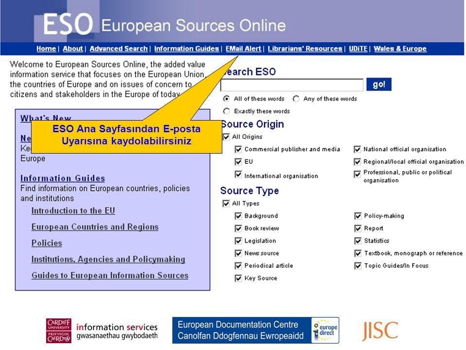 Register for the Email Alert From the ESO Home Page ESO Ana Sayfasından E-posta Uyarısına kaydolabilirsiniz