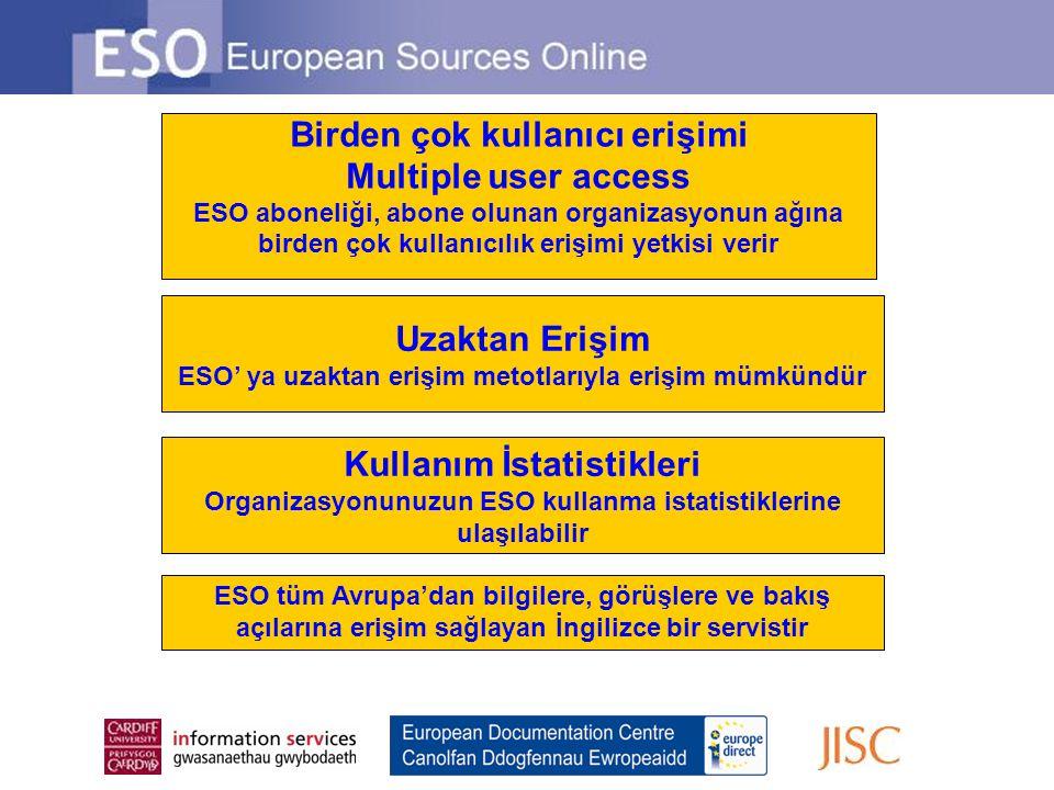 Uzaktan Erişim ESO' ya uzaktan erişim metotlarıyla erişim mümkündür Birden çok kullanıcı erişimi Multiple user access ESO aboneliği, abone olunan orga