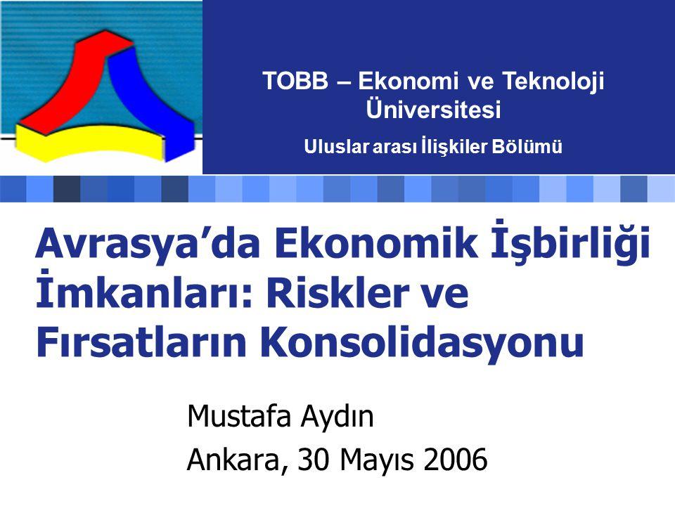 Avrasya'da Ekonomik İşbirliği İmkanları: Riskler ve Fırsatların Konsolidasyonu Mustafa Aydın Ankara, 30 Mayıs 2006 TOBB – Ekonomi ve Teknoloji Üniversitesi Uluslar arası İlişkiler Bölümü