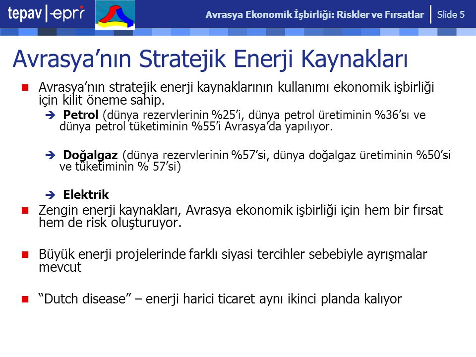 Avrasya Ekonomik İşbirliği: Riskler ve Fırsatlar Slide 5 Avrasya'nın stratejik enerji kaynaklarının kullanımı ekonomik işbirliği için kilit öneme sahip.