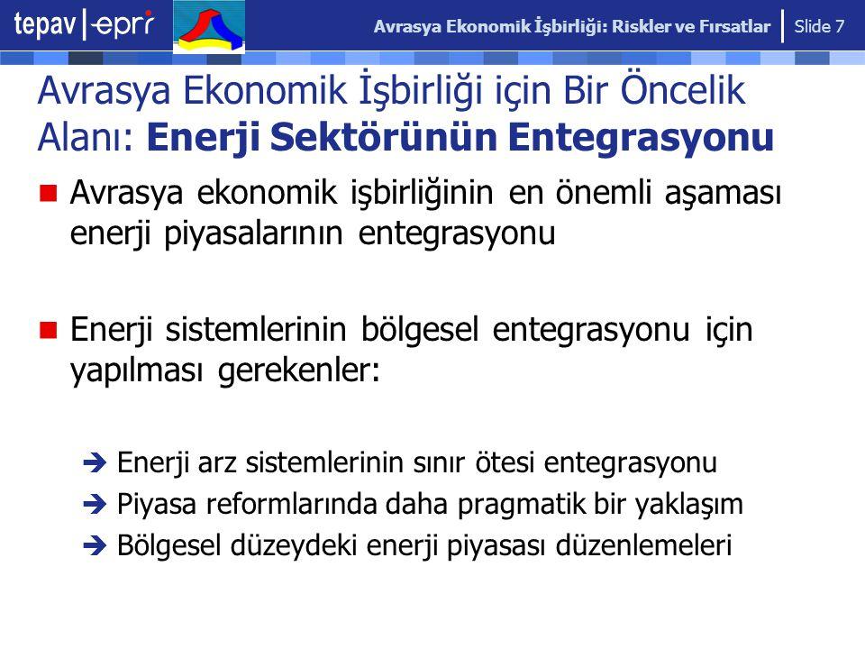 Avrasya Ekonomik İşbirliği: Riskler ve Fırsatlar Slide 7 Avrasya Ekonomik İşbirliği için Bir Öncelik Alanı: Enerji Sektörünün Entegrasyonu Avrasya ekonomik işbirliğinin en önemli aşaması enerji piyasalarının entegrasyonu Enerji sistemlerinin bölgesel entegrasyonu için yapılması gerekenler:  Enerji arz sistemlerinin sınır ötesi entegrasyonu  Piyasa reformlarında daha pragmatik bir yaklaşım  Bölgesel düzeydeki enerji piyasası düzenlemeleri