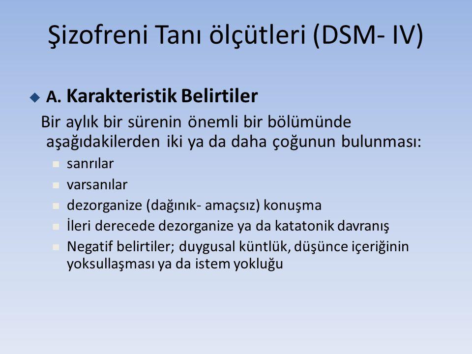 Şizofreni Tanı ölçütleri (DSM- IV)  A. Karakteristik Belirtiler Bir aylık bir sürenin önemli bir bölümünde aşağıdakilerden iki ya da daha çoğunun bul