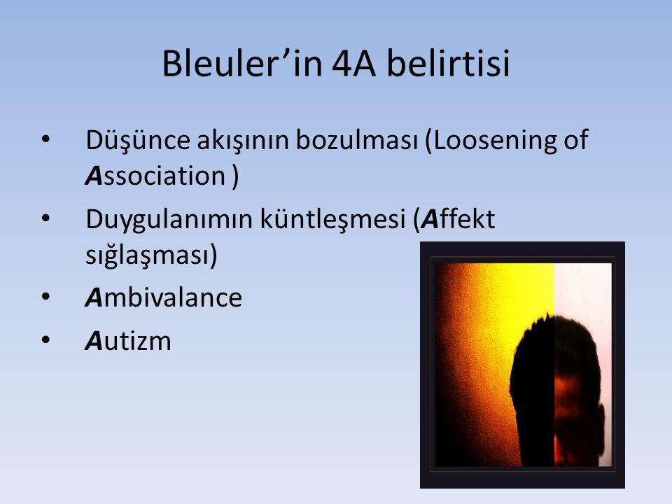 Bleuler'in 4A belirtisi Düşünce akışının bozulması (Loosening of Association ) Duygulanımın küntleşmesi (Affekt sığlaşması) Ambivalance Autizm Sağlık