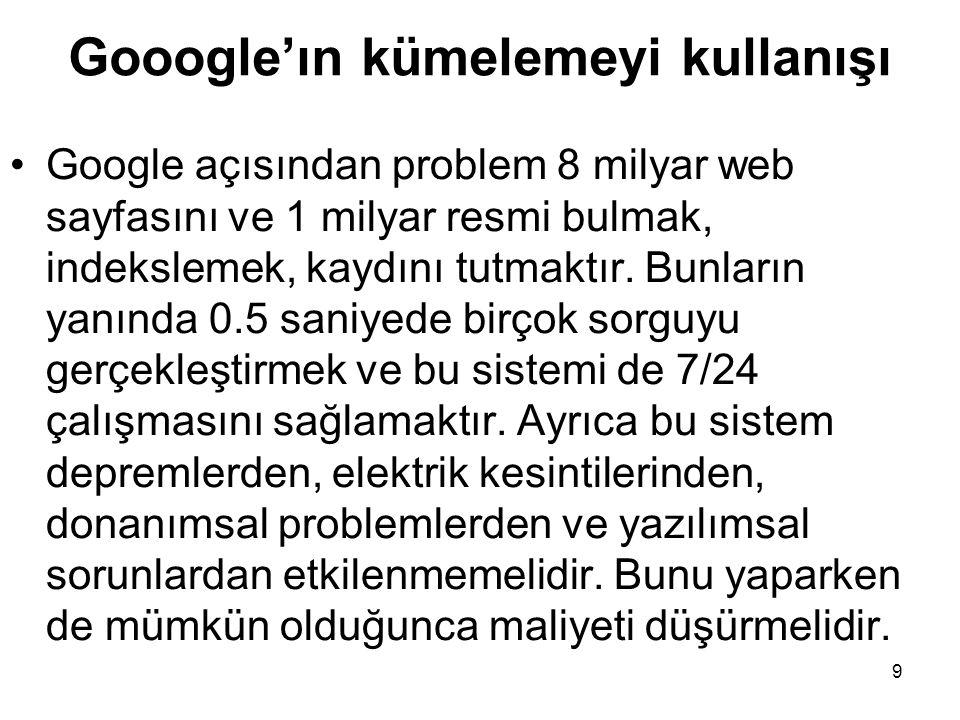 9 Gooogle'ın kümelemeyi kullanışı Google açısından problem 8 milyar web sayfasını ve 1 milyar resmi bulmak, indekslemek, kaydını tutmaktır. Bunların y