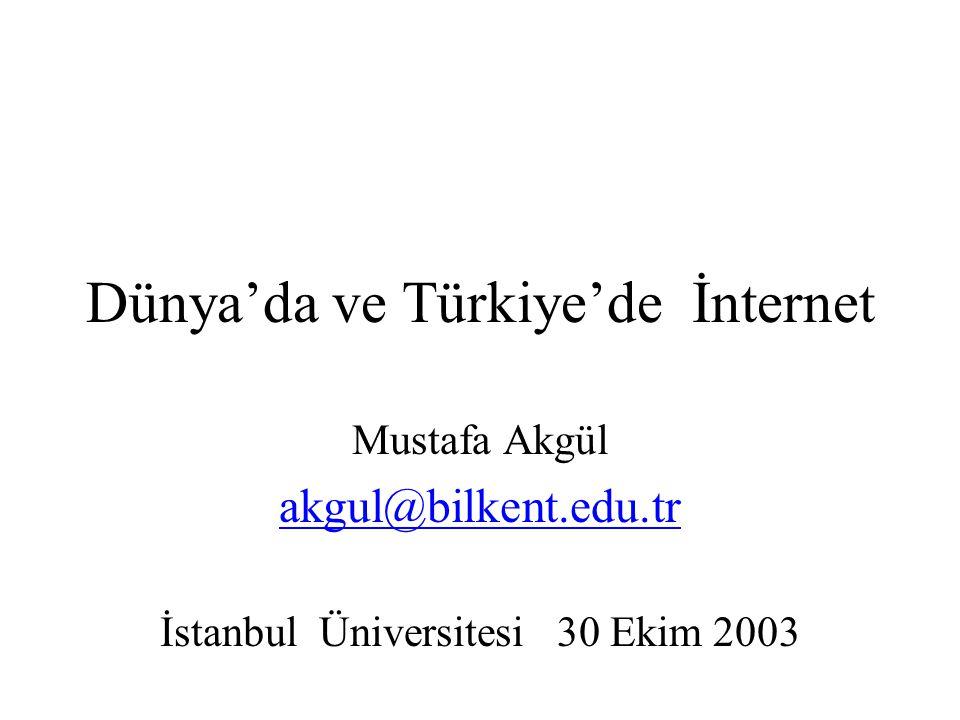Dünya'da ve Türkiye'de İnternet Mustafa Akgül akgul@bilkent.edu.tr İstanbul Üniversitesi 30 Ekim 2003