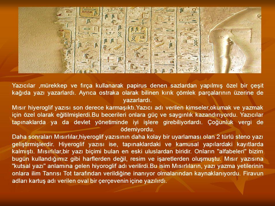 Yazıcılar,mürekkep ve fırça kullanarak papirus denen sazlardan yapılmış özel bir çeşit kağıda yazı yazarlardı. Ayrıca ostraka olarak bilinen kırık çöm