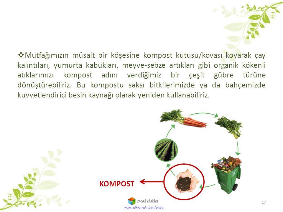 www.atikyonetim.com/evsel/ 17  Mutfağımızın müsait bir köşesine kompost kutusu/kovası koyarak çay kalıntıları, yumurta kabukları, meyve-sebze artıkla