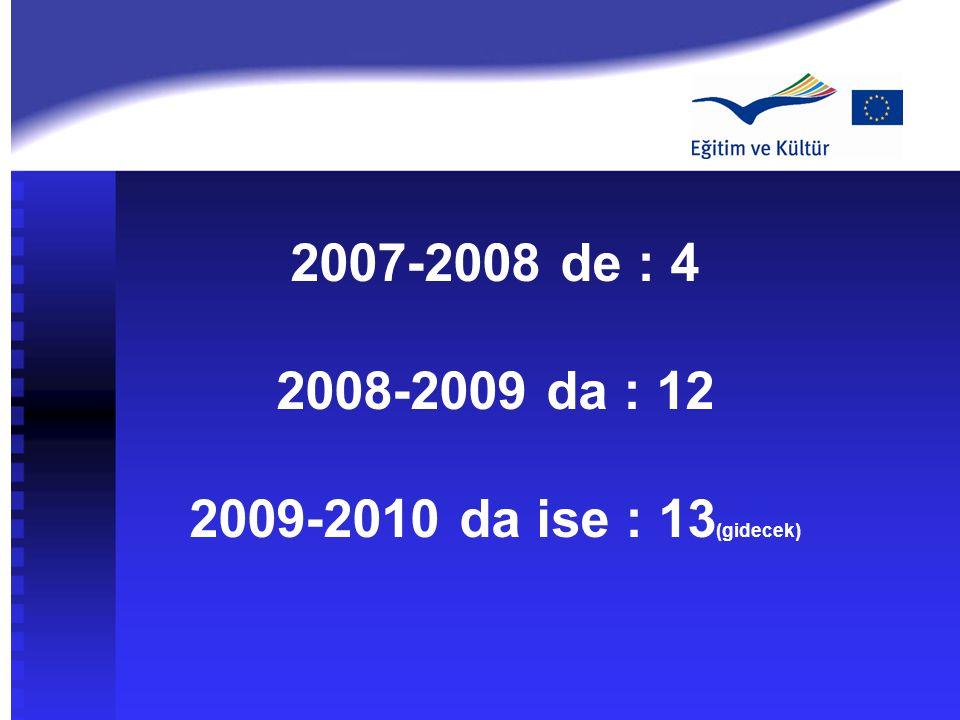 2007-2008 de : 4 2008-2009 da : 12 2009-2010 da ise : 13 (gidecek)