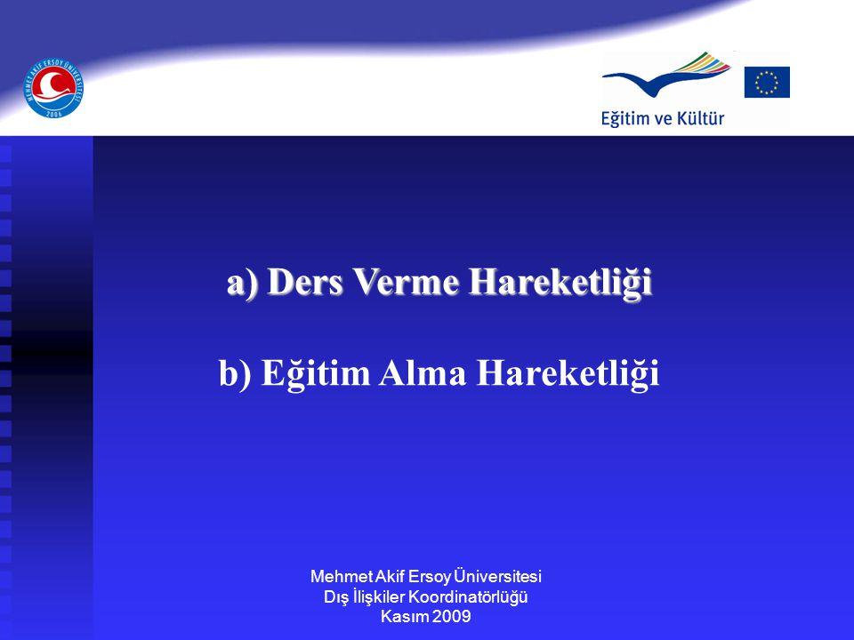 a) Ders Verme Hareketliği b) Eğitim Alma Hareketliği Mehmet Akif Ersoy Üniversitesi Dış İlişkiler Koordinatörlüğü Kasım 2009