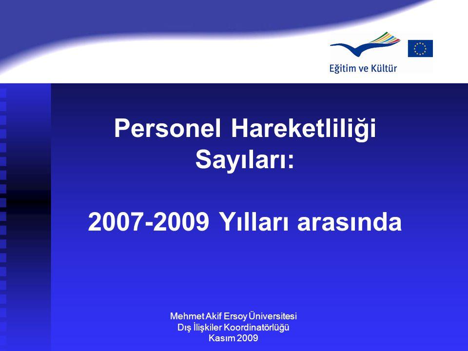 Personel Hareketliliği Sayıları: 2007-2009 Yılları arasında Mehmet Akif Ersoy Üniversitesi Dış İlişkiler Koordinatörlüğü Kasım 2009