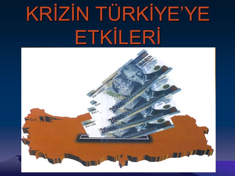 KRİZİN TÜRKİYE'YE ETKİLERİ Türkiye 1929 bunalımı karşısında,kalkınmasını sağlayabilmek için ihracat ve ithalatını artırmak zorundaydı,Türkiye Cumhuriyeti bunu sağlayabilmek için çeşitli politikalar izledi.