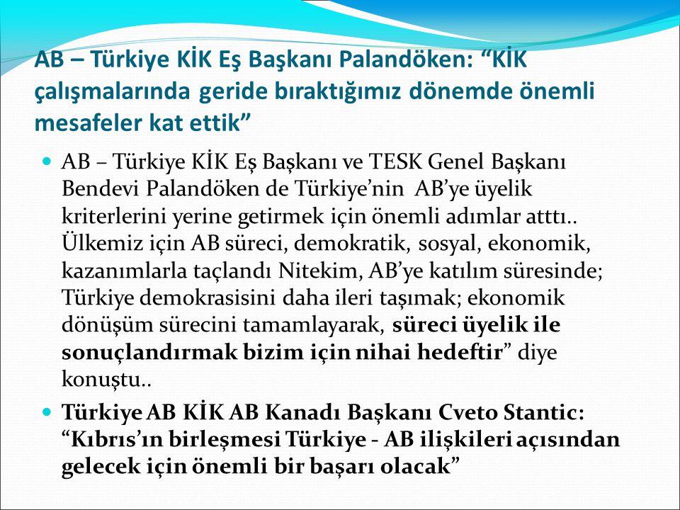"""AB – Türkiye KİK Eş Başkanı Palandöken: """"KİK çalışmalarında geride bıraktığımız dönemde önemli mesafeler kat ettik"""" AB – Türkiye KİK Eş Başkanı ve TES"""