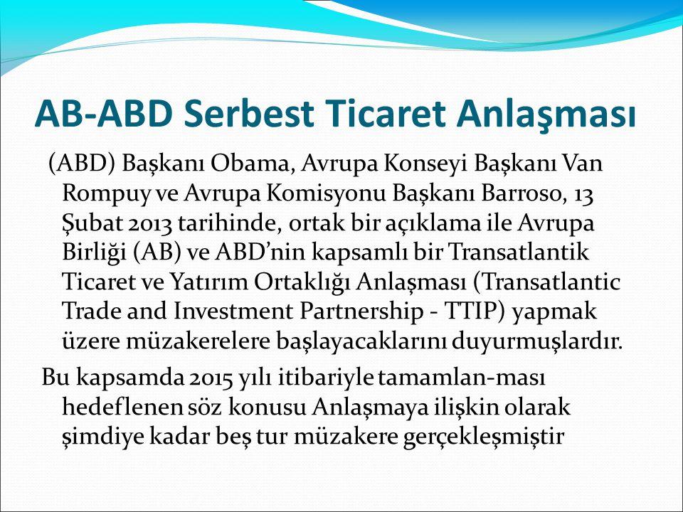 AB-ABD Serbest Ticaret Anlaşması (ABD) Başkanı Obama, Avrupa Konseyi Başkanı Van Rompuy ve Avrupa Komisyonu Başkanı Barroso, 13 Şubat 2013 tarihinde,