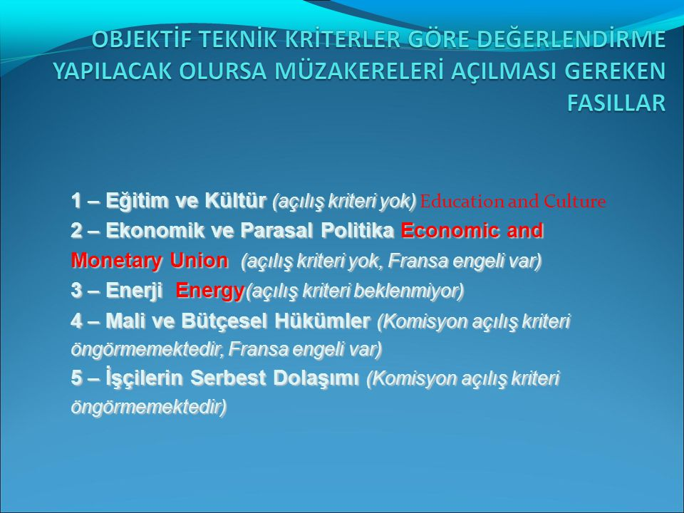 1) Malların Serbest Dolaşımı 2) İş Kurma Hakkı ve Hizmet Sunumu Serbestisi 3) Mali Hizmetler 4) Tarım ve Kırsal kalkınma 5) Balıkçılık 6) Taşımacılık Politikası 7) Gümrük Birliği 8) Dış İlişkiler