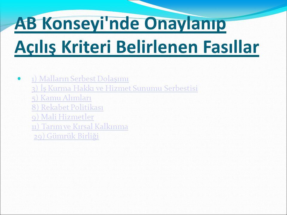 AB Konseyi'nde Onaylanıp Açılış Kriteri Belirlenen Fasıllar 1) Malların Serbest Dolaşımı 3) İş Kurma Hakkı ve Hizmet Sunumu Serbestisi 5) Kamu Alımlar