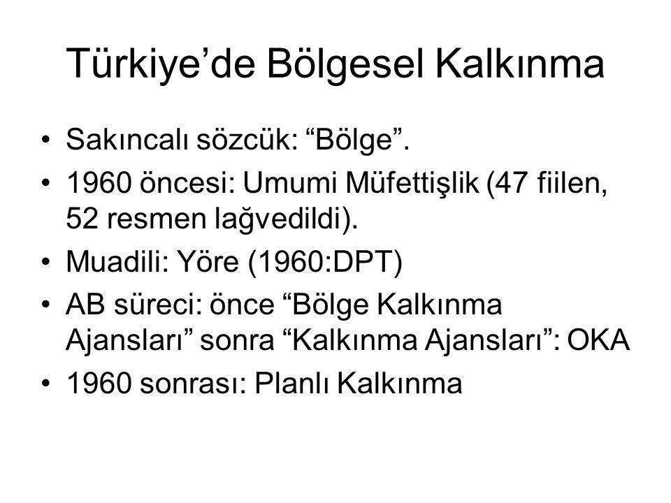 """Türkiye'de Bölgesel Kalkınma Sakıncalı sözcük: """"Bölge"""". 1960 öncesi: Umumi Müfettişlik (47 fiilen, 52 resmen lağvedildi). Muadili: Yöre (1960:DPT) AB"""