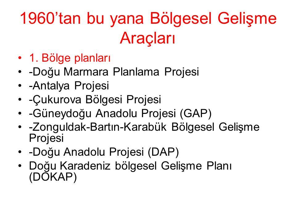 1960'tan bu yana Bölgesel Gelişme Araçları 1. Bölge planları -Doğu Marmara Planlama Projesi -Antalya Projesi -Çukurova Bölgesi Projesi -Güneydoğu Anad