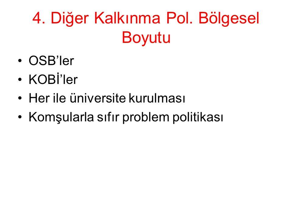 4. Diğer Kalkınma Pol. Bölgesel Boyutu OSB'ler KOBİ'ler Her ile üniversite kurulması Komşularla sıfır problem politikası