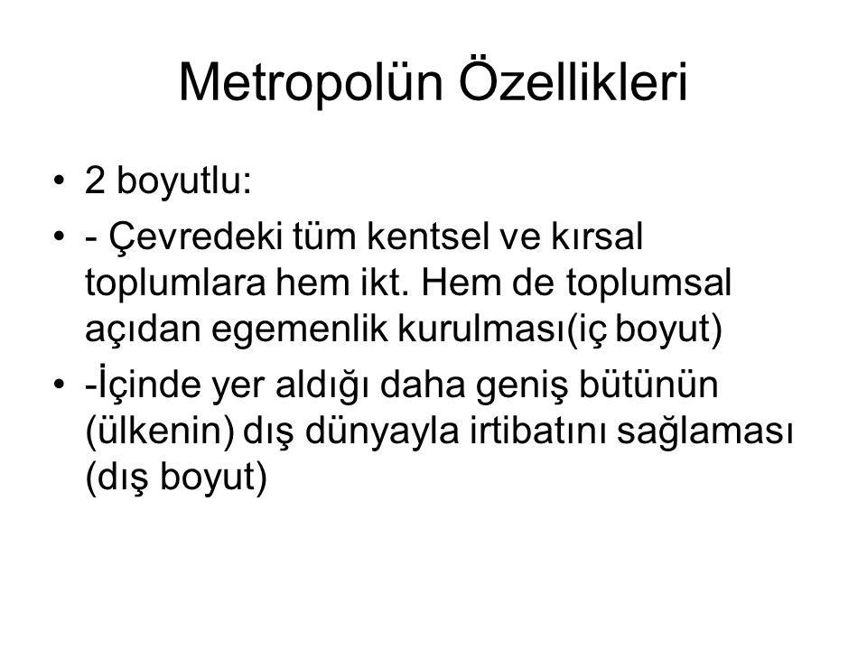 Metropolün Özellikleri 2 boyutlu: - Çevredeki tüm kentsel ve kırsal toplumlara hem ikt. Hem de toplumsal açıdan egemenlik kurulması(iç boyut) -İçinde
