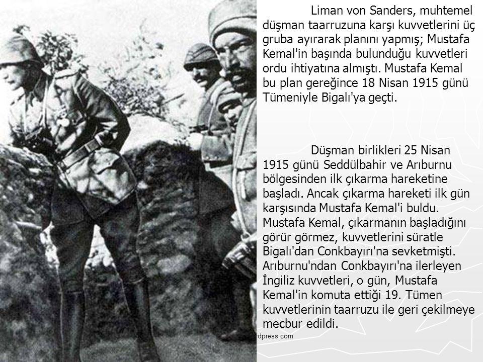 Tskvemillisavunma.wordpress.com Liman von Sanders, muhtemel düşman taarruzuna karşı kuvvetlerini üç gruba ayırarak planını yapmış; Mustafa Kemal'in ba