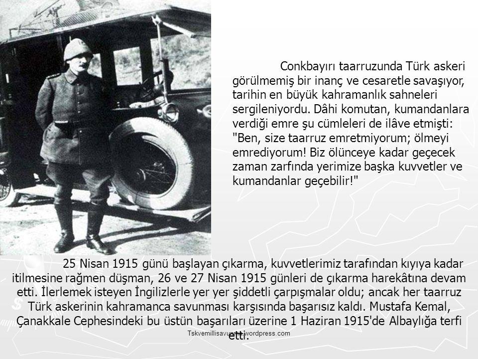 Tskvemillisavunma.wordpress.com 25 Nisan 1915 günü başlayan çıkarma, kuvvetlerimiz tarafından kıyıya kadar itilmesine rağmen düşman, 26 ve 27 Nisan 19