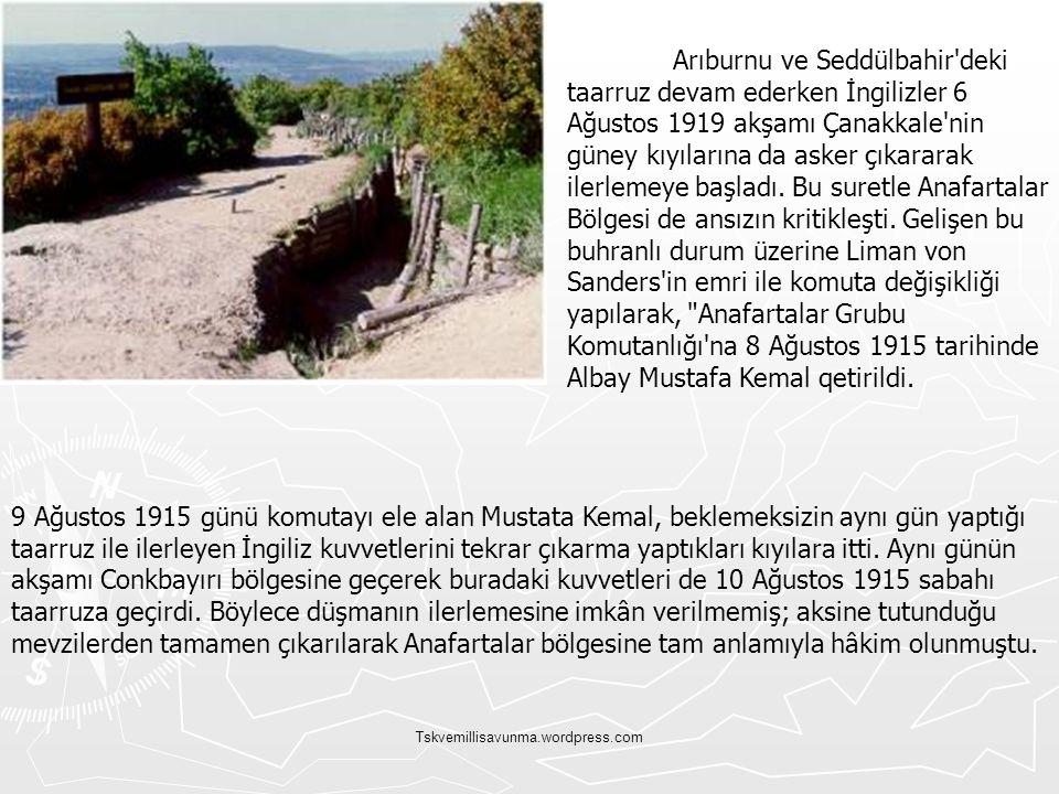 Tskvemillisavunma.wordpress.com Arıburnu ve Seddülbahir'deki taarruz devam ederken İngilizler 6 Ağustos 1919 akşamı Çanakkale'nin güney kıyılarına da