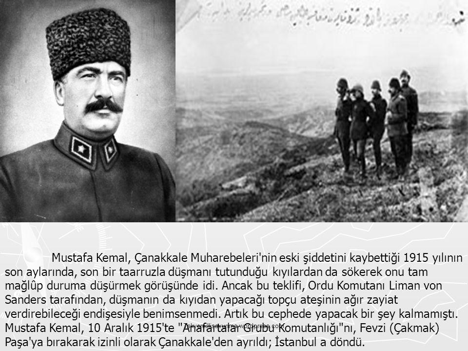 Tskvemillisavunma.wordpress.com Mustafa Kemal, Çanakkale Muharebeleri'nin eski şiddetini kaybettiği 1915 yılının son aylarında, son bir taarruzla düşm