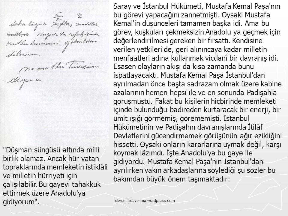 Tskvemillisavunma.wordpress.com Saray ve İstanbul Hükümeti, Mustafa Kemal Paşa'nın bu görevi yapacağını zannetmişti. Oysaki Mustafa Kemal'in düşüncele