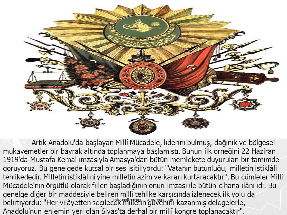Tskvemillisavunma.wordpress.com Artık Anadolu'da başlayan Millî Mücadele, liderini bulmuş, dağınık ve bölgesel mukavemetler bir bayrak altında toplanm