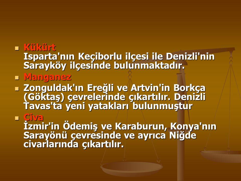 BOKSİT  Konya nın Seydişehir ilçesi ile Antalya nın Akseki ilçesinde çıkarılır.