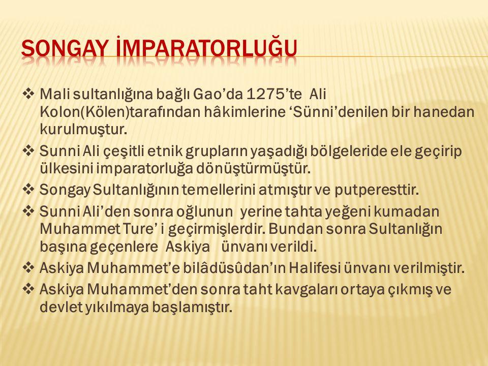  Mali sultanlığına bağlı Gao'da 1275'te Ali Kolon(Kölen)tarafından hâkimlerine 'Sünni'denilen bir hanedan kurulmuştur.  Sunni Ali çeşitli etnik grup