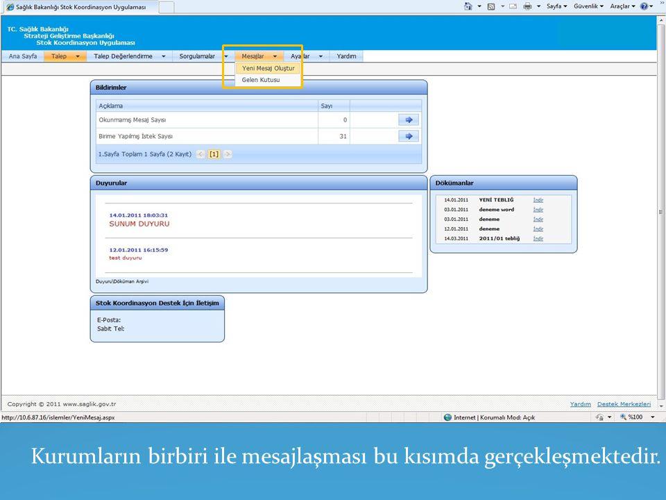 Talepçi istek gönder ekranında talep miktarı belirlenir ve 'Kaydet 'sekmesi tıklanır.