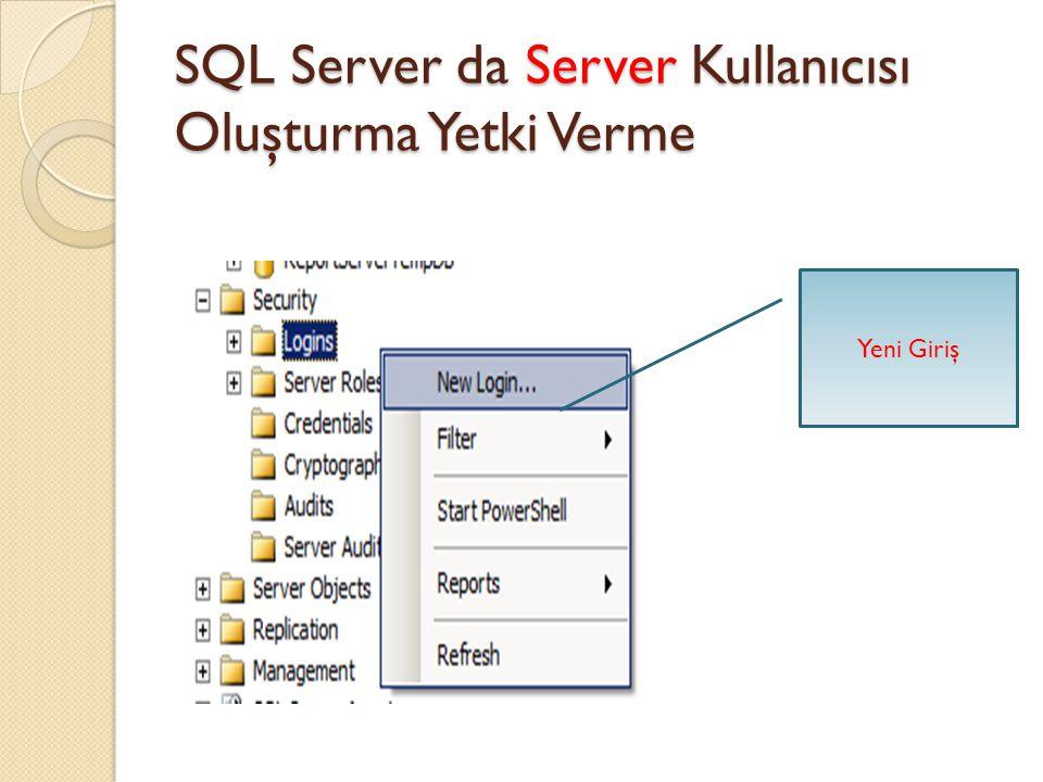 SQL Server da Server Kullanıcısı Oluşturma Yetki Verme Yeni Giriş
