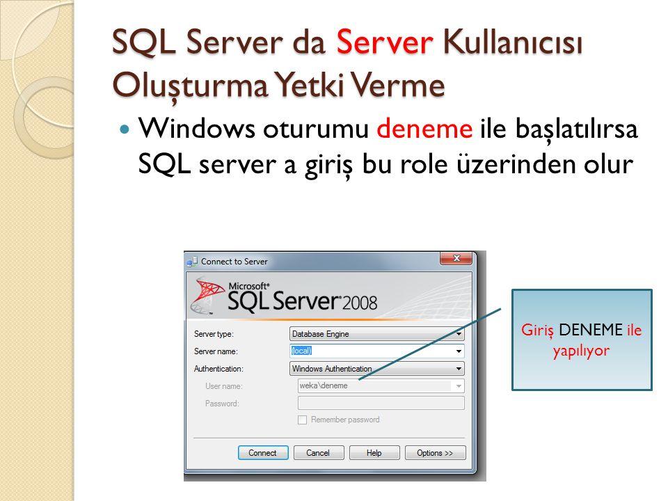 SQL Server da Server Kullanıcısı Oluşturma Yetki Verme Windows oturumu deneme ile başlatılırsa SQL server a giriş bu role üzerinden olur Giriş DENEME