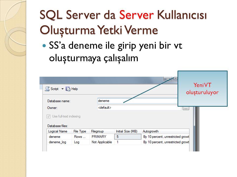 SQL Server da Server Kullanıcısı Oluşturma Yetki Verme SS'a deneme ile girip yeni bir vt oluşturmaya çalışalım Yeni VT oluşturuluyor